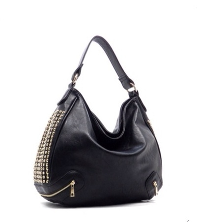 Black Hobo Handbag With Gold Tone Studs Rhinestones And Functional Zip Front Pockets